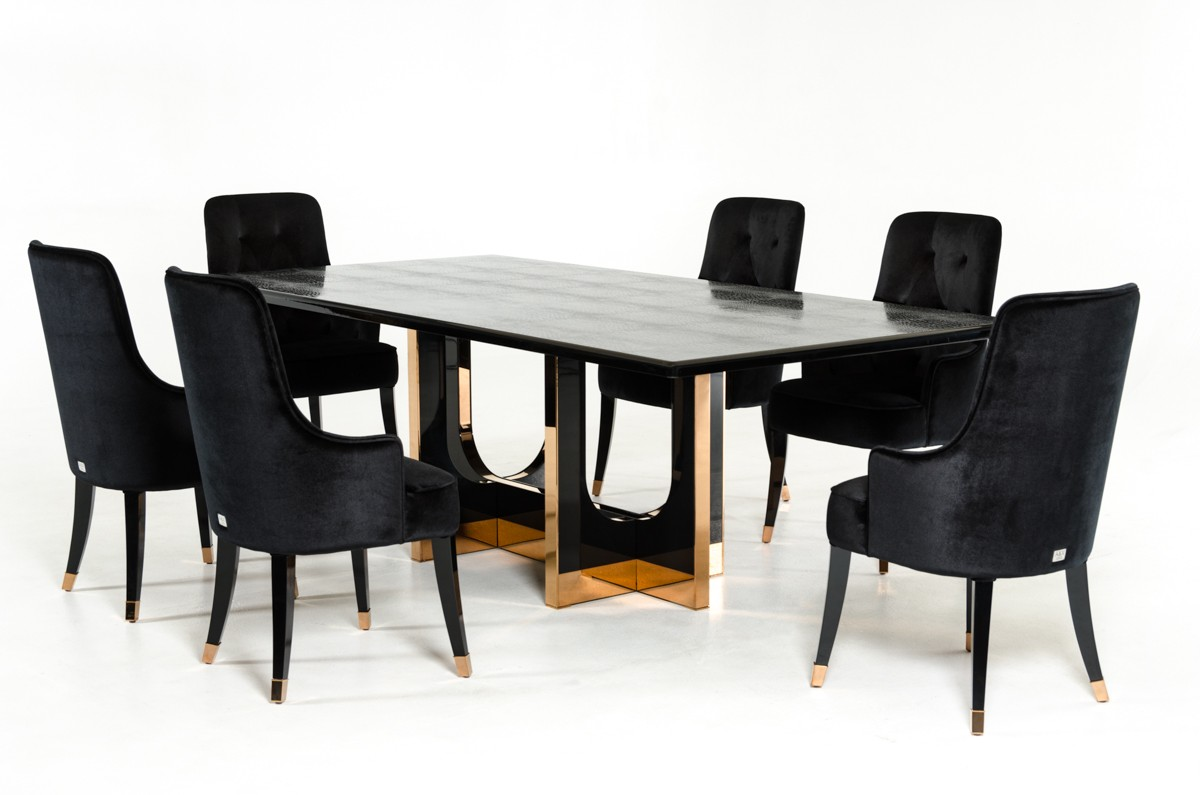 A&X Padua Modern Large Black Crocodile & Rosegold Dining Table ...