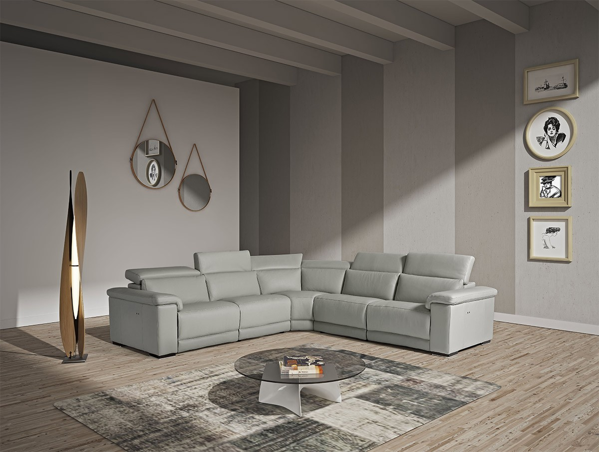 Estro Salotti Palinuro Modern Grey Leather Sectional Sofa
