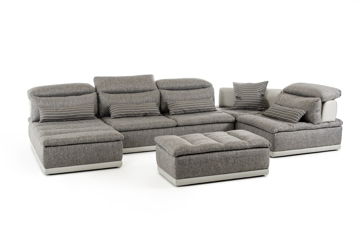 David Ferrari Panorama Italian Modern Grey Fabric Leather Sectional