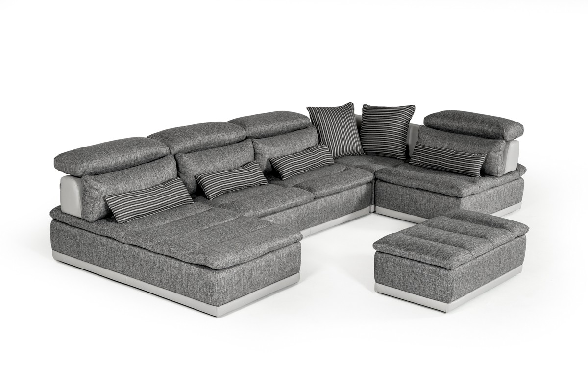 David Ferrari Panorama Italian Modern Grey Fabric U0026 Grey Leather Sectional  Sofa