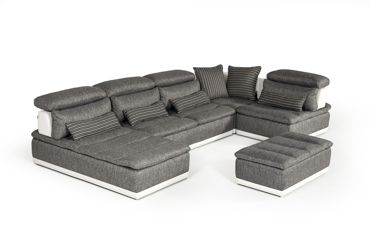 David Ferrari Panorama Italian Modern Grey Fabric & White Leather Sectional Sofa
