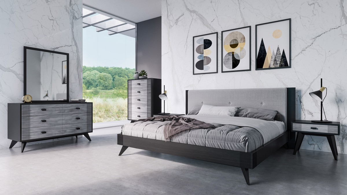 Nova Domus Panther Contemporary Grey Black Bedroom Set Beds Bedroom