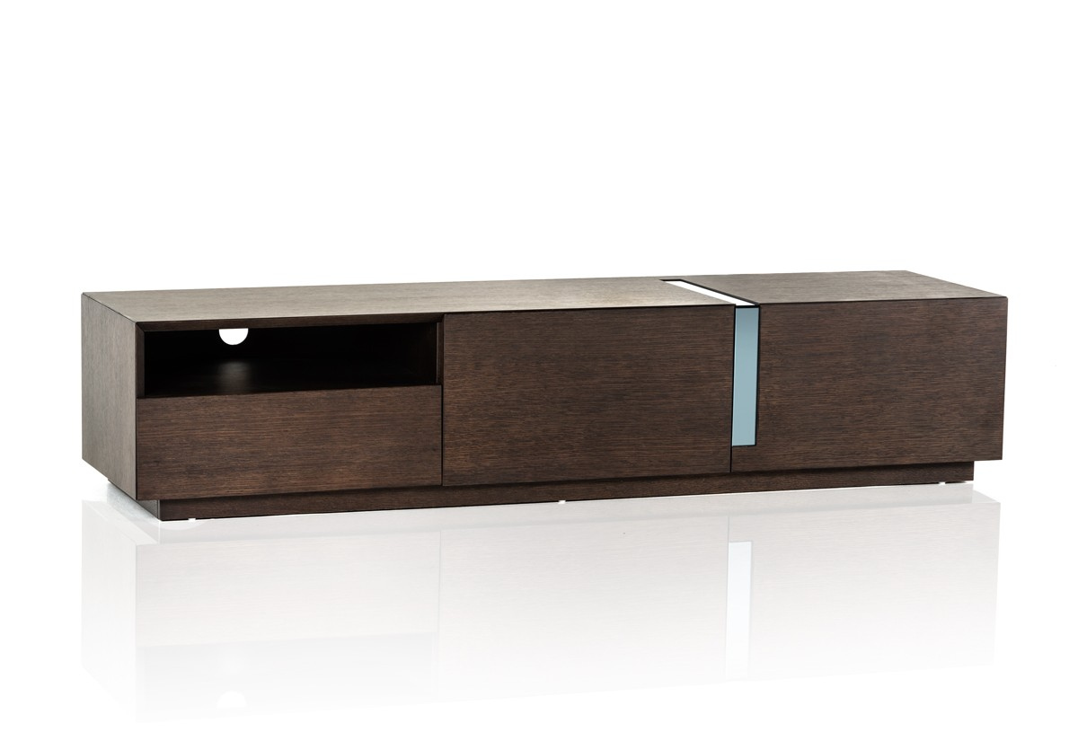 Modrest pisa modern brown oak tv stand entertainment for Stylish tv stands furniture