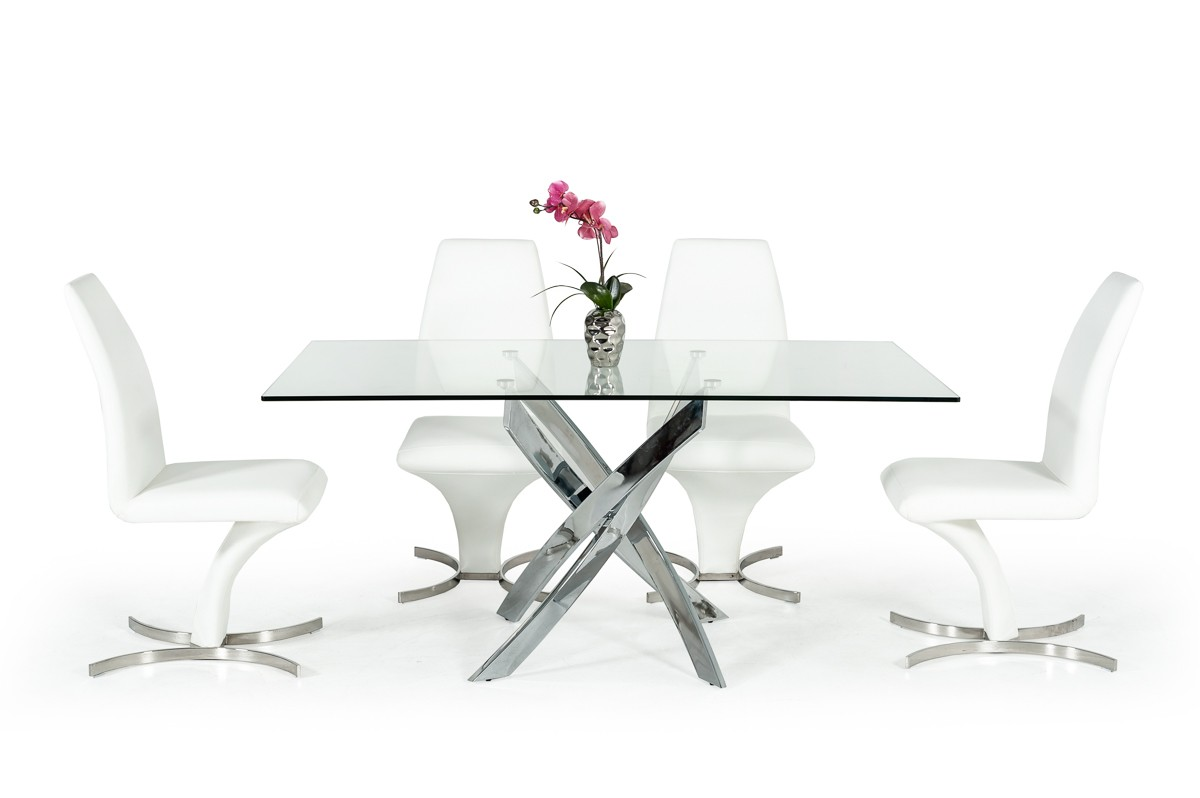 Picture of: Modrest Pyrite Modern Rectangular Glass Dining Table