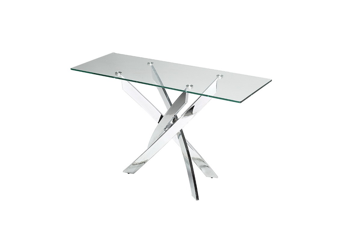 pyrite modern glass console table - modrest pyrite modern glass console table