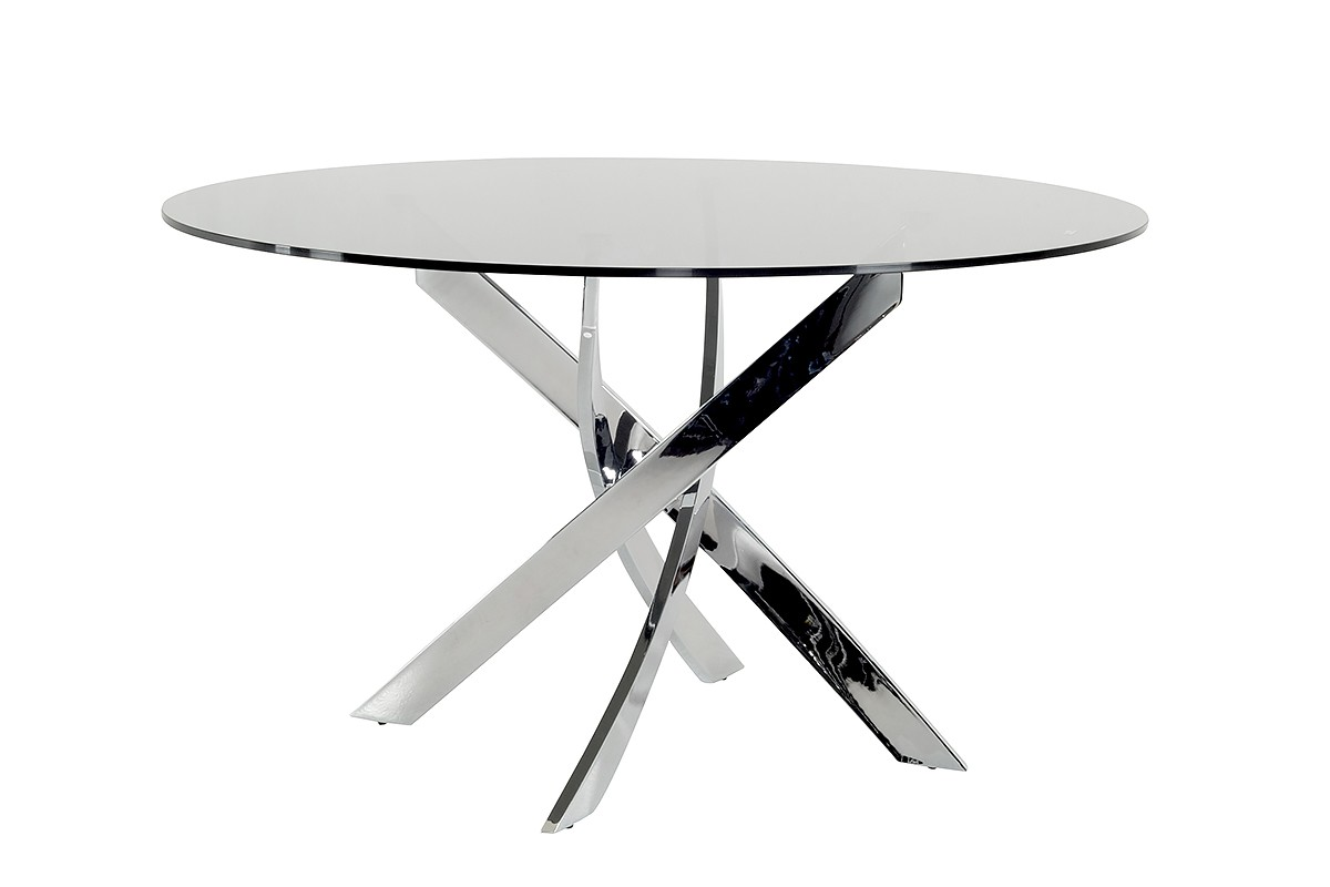 Modrest Pyrite Modern Smoked Glass Amp Chrome Round Dining Table