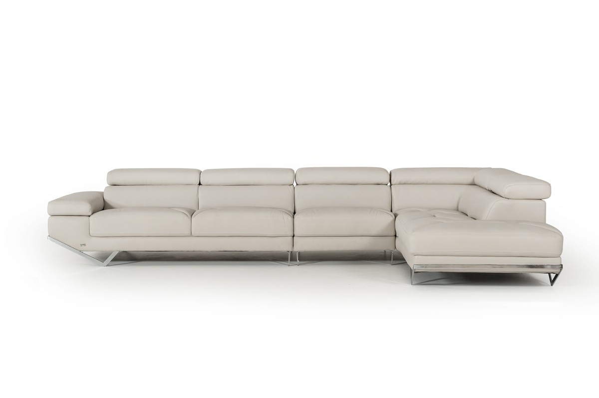 Divani Casa Quebec Modern Light Grey Eco-Leather Large Sectional Sofa