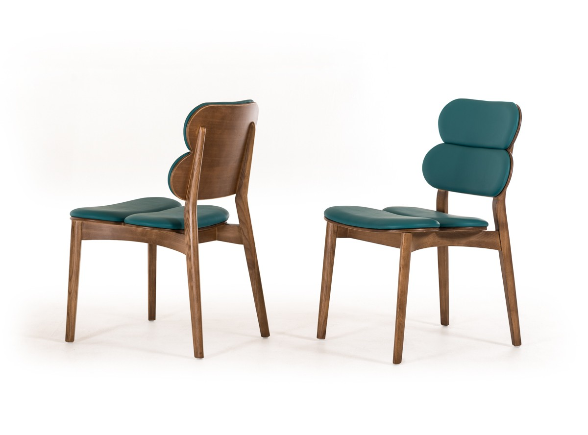 Raeanne modern turquoise walnut dining chair set of 2 for Walnut dining chairs modern
