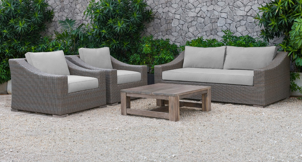 Renava Palisades Outdoor Beige Wicker Sofa Set Outdoor