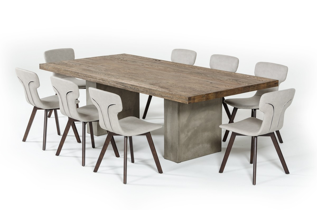 modrest renzo modern oak concrete dining table. Black Bedroom Furniture Sets. Home Design Ideas