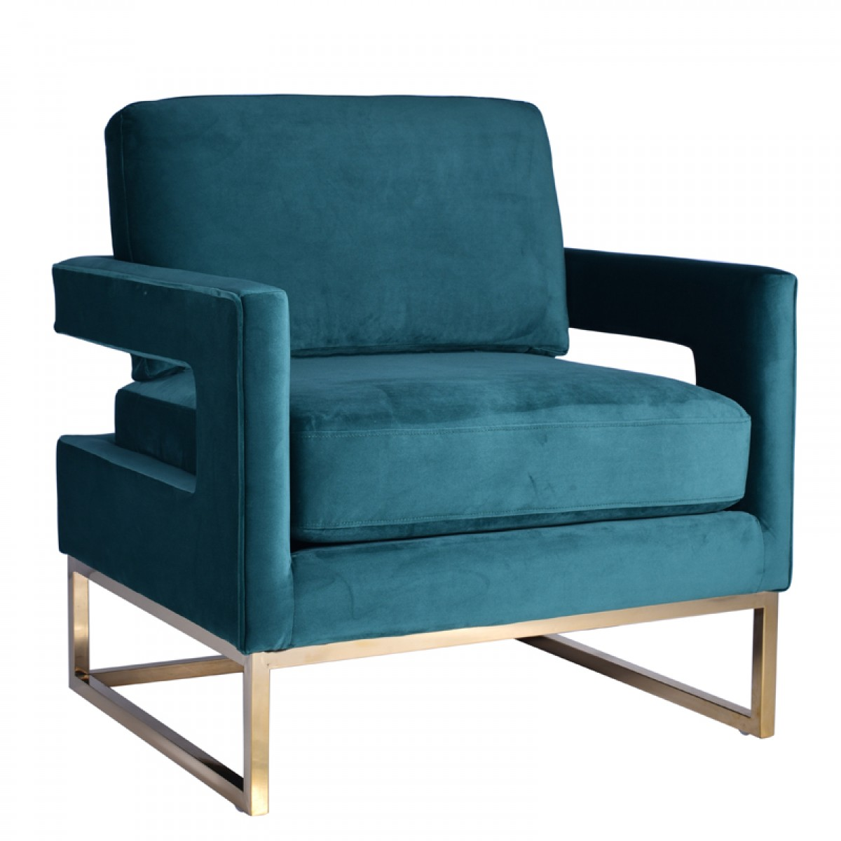 Modrest Edna Modern Teal Velvet & Gold Accent Chair