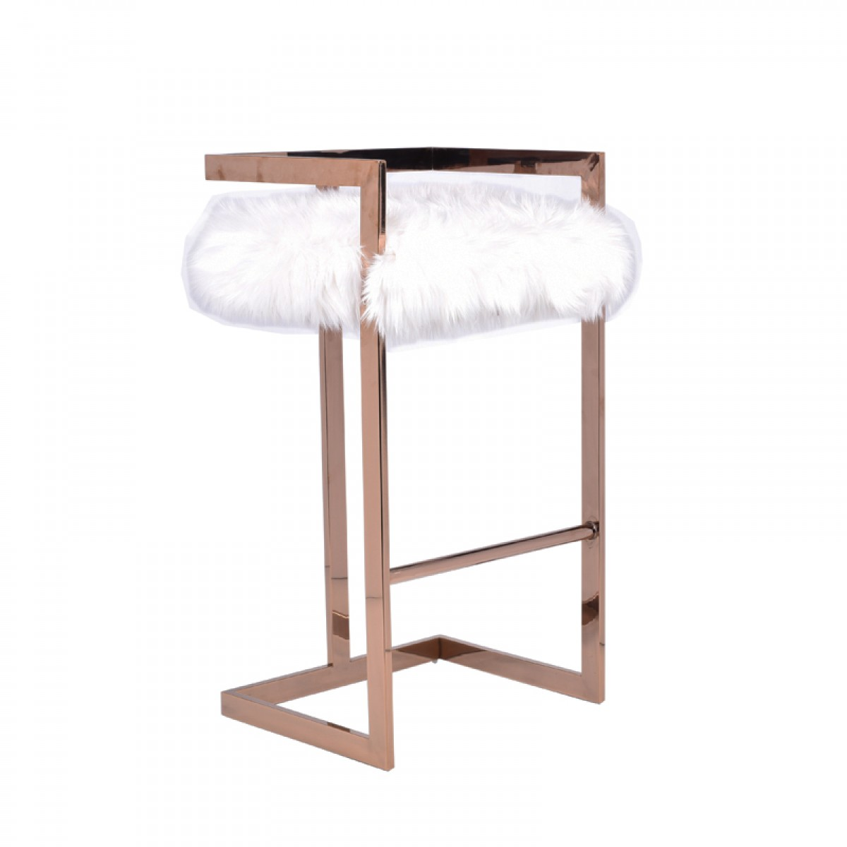 Modrest Halifax Modern White Faux Fur & Rosegold Bar Stool
