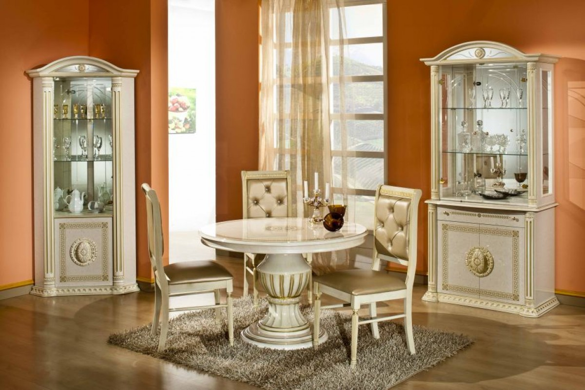 Italian Extendable Dining Table Rossella Beige Round Extendable Dining Table Made In Italy