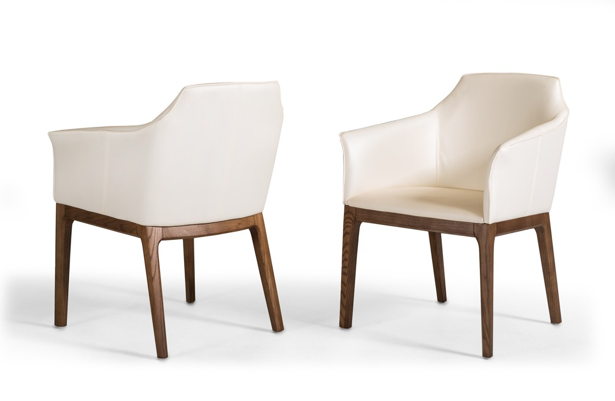modrest ryder modern cream walnut dining chair
