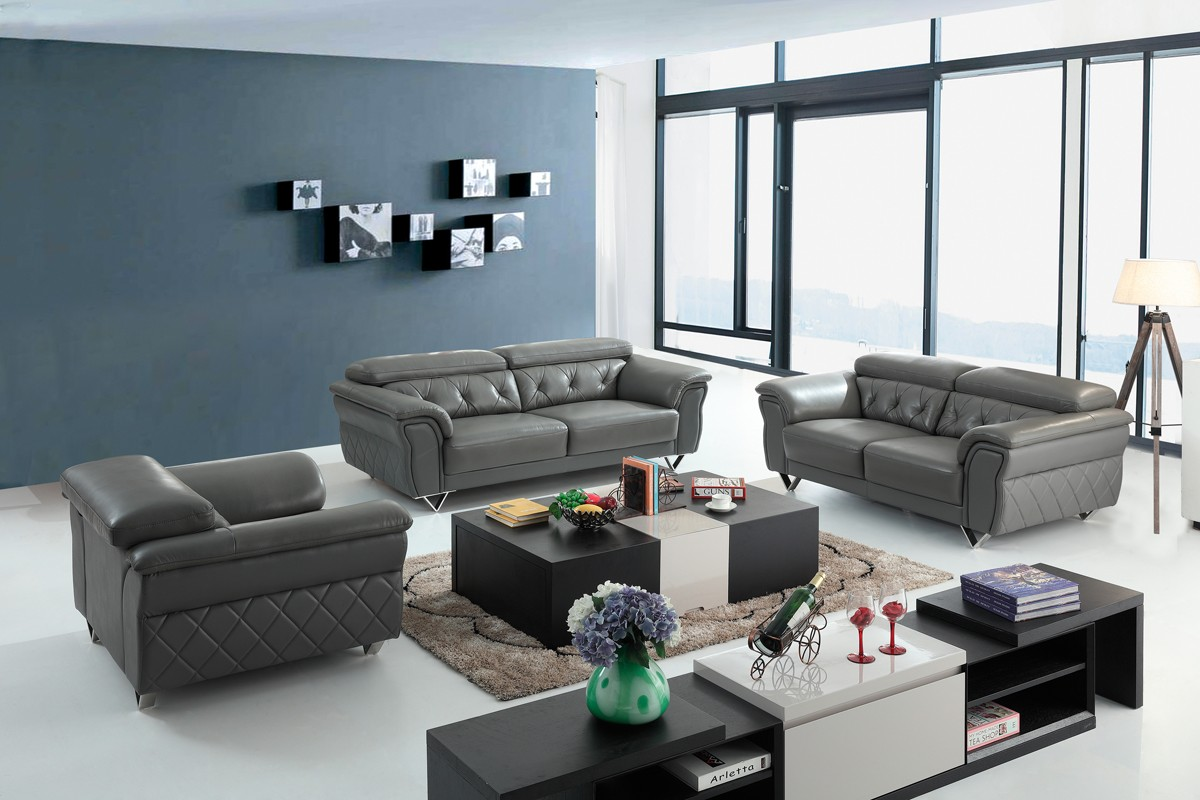 Casa Perry Modern Grey Leather Sofa Set
