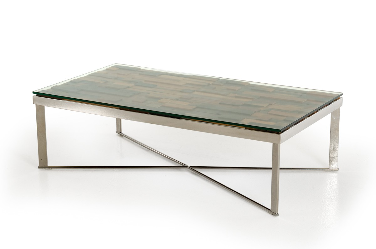 Modern Rectangular Wood Mosaic Coffee Table Coffee Tables Living