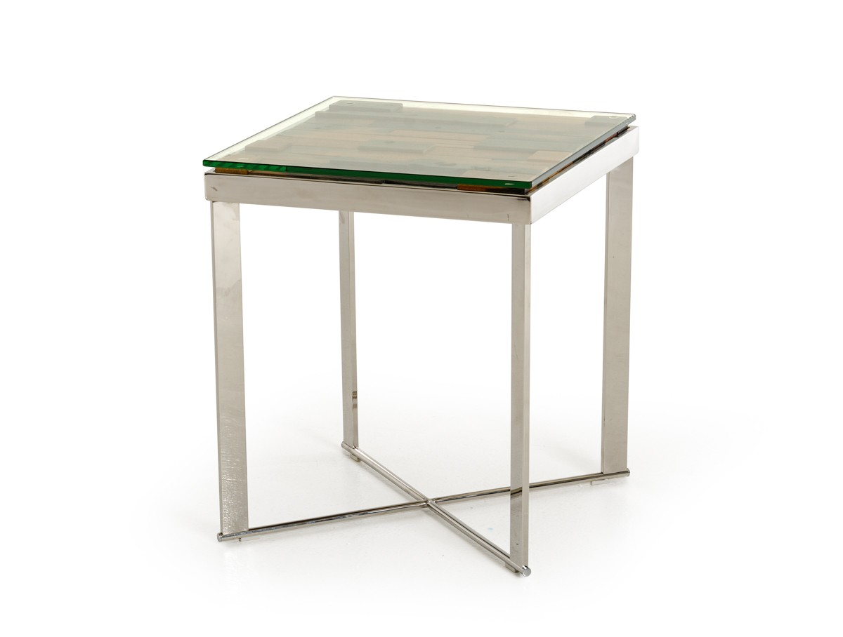 Modrest Santiago Modern Rectangular Wood Mosaic End Table