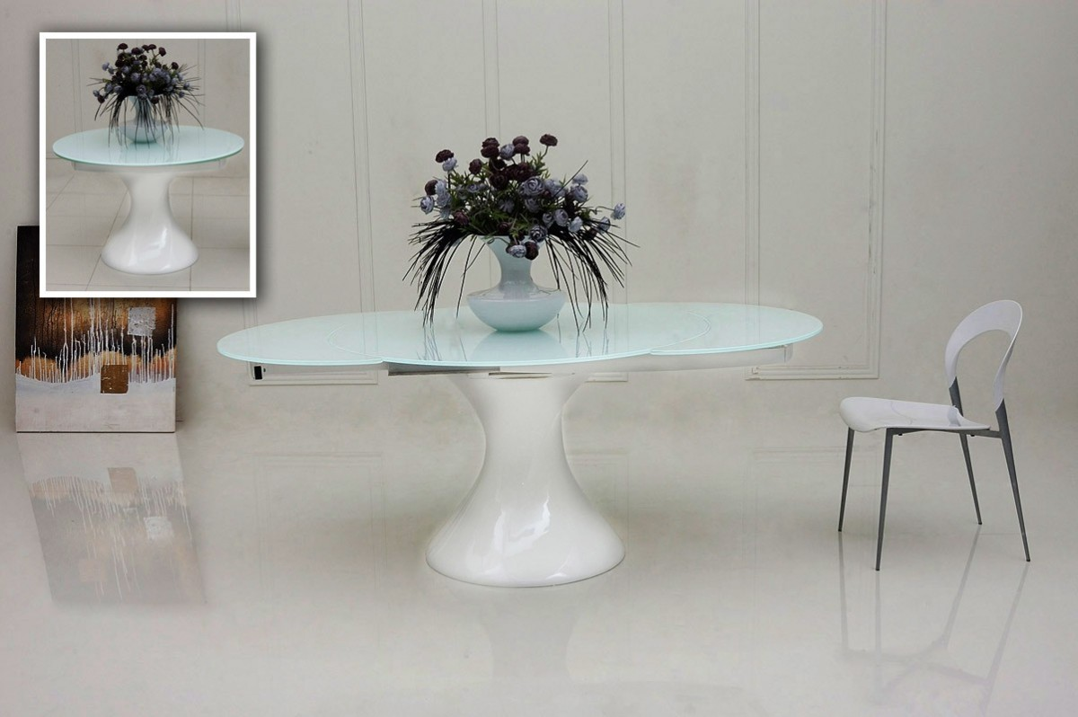 Glass Round Extending Dining Table - Starrkingschool