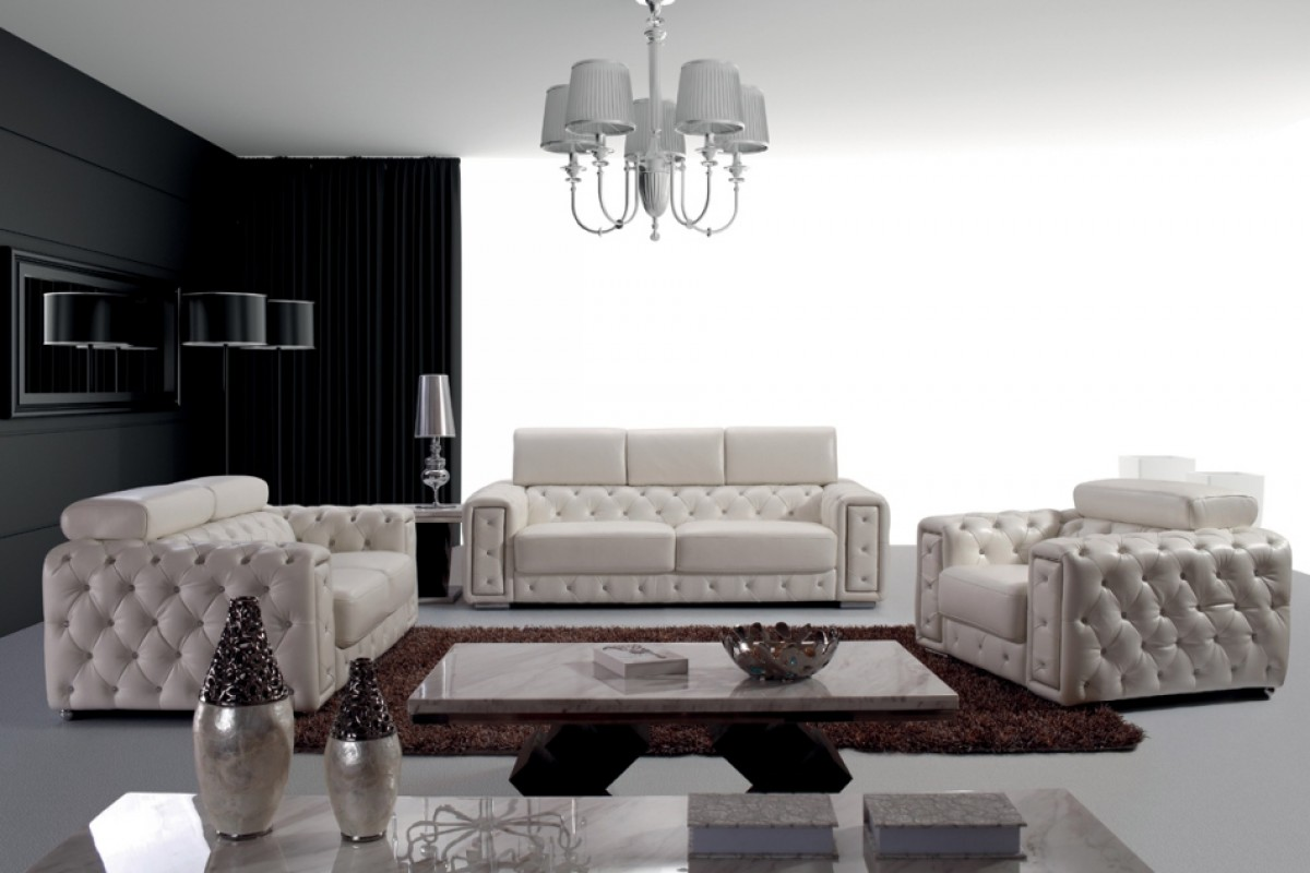 Divani Casa Lumy Modern Tufted White Leather Sofa Set