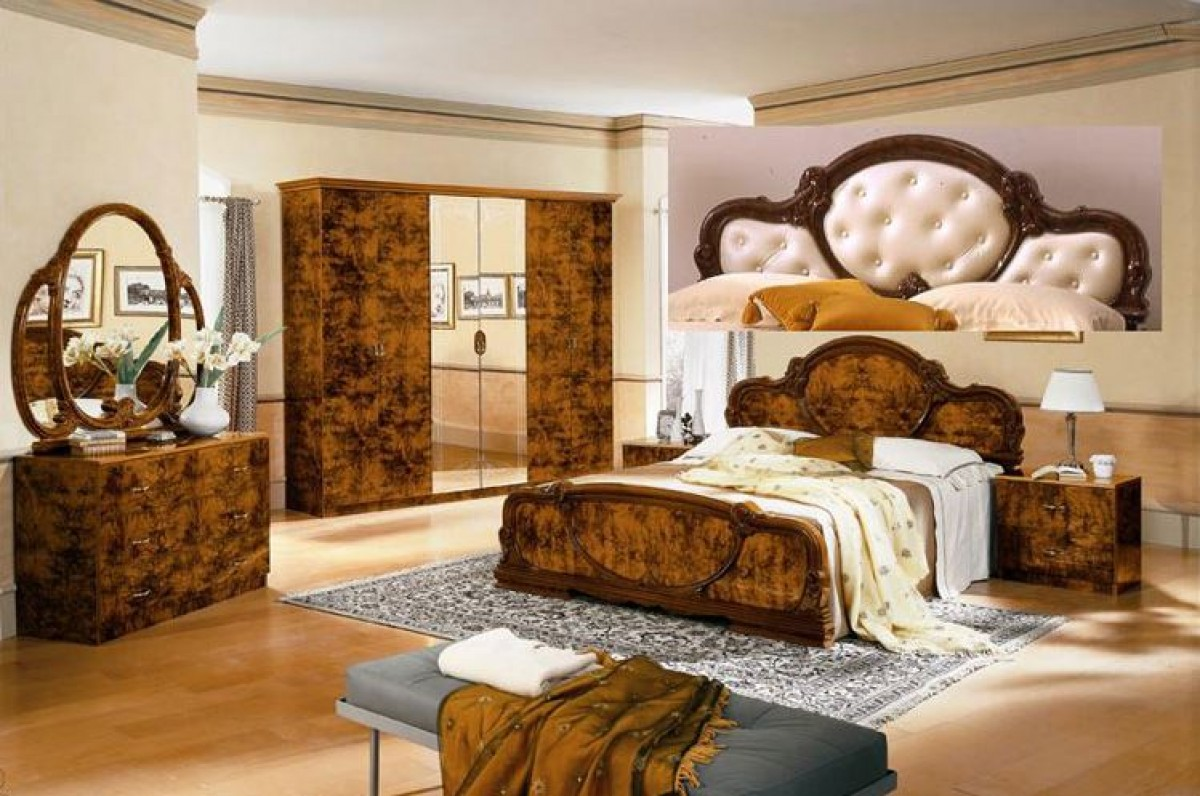 Complete Set Serena Walnut Traditional Italian Bed
