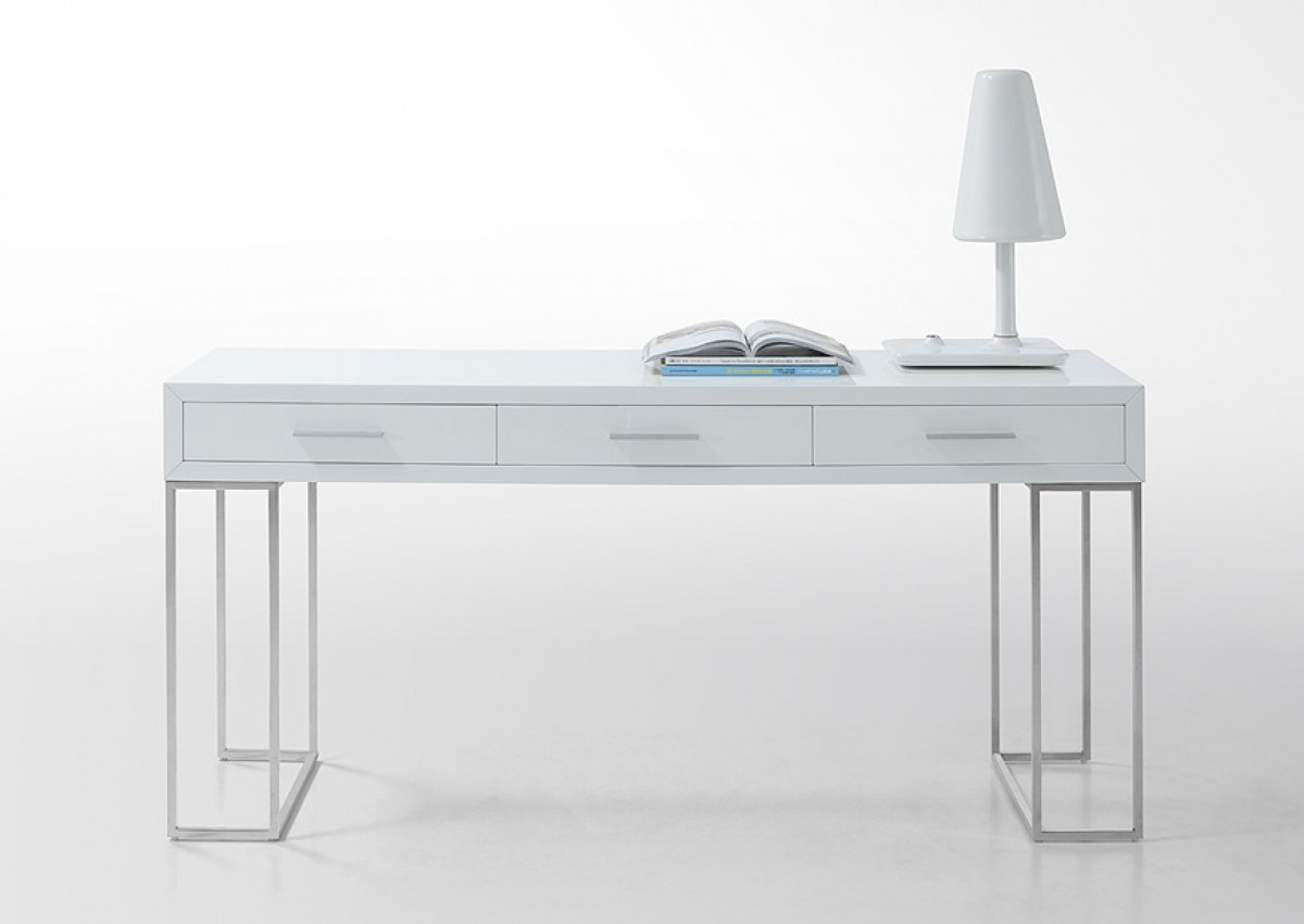 Modrest Sheldon Modern White Lacquer Desk Office