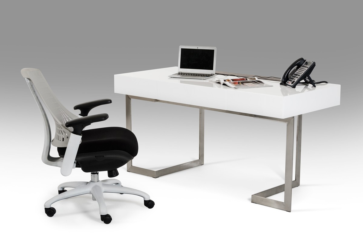 Modrest sharp modern white office desk for Modern white office