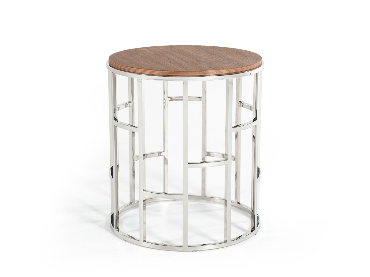 Modrest Silvia Modern Walnut & Stainless Steel End Table