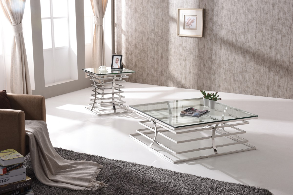 Modrest Snyder Modern Square Glass Coffee Table Coffee