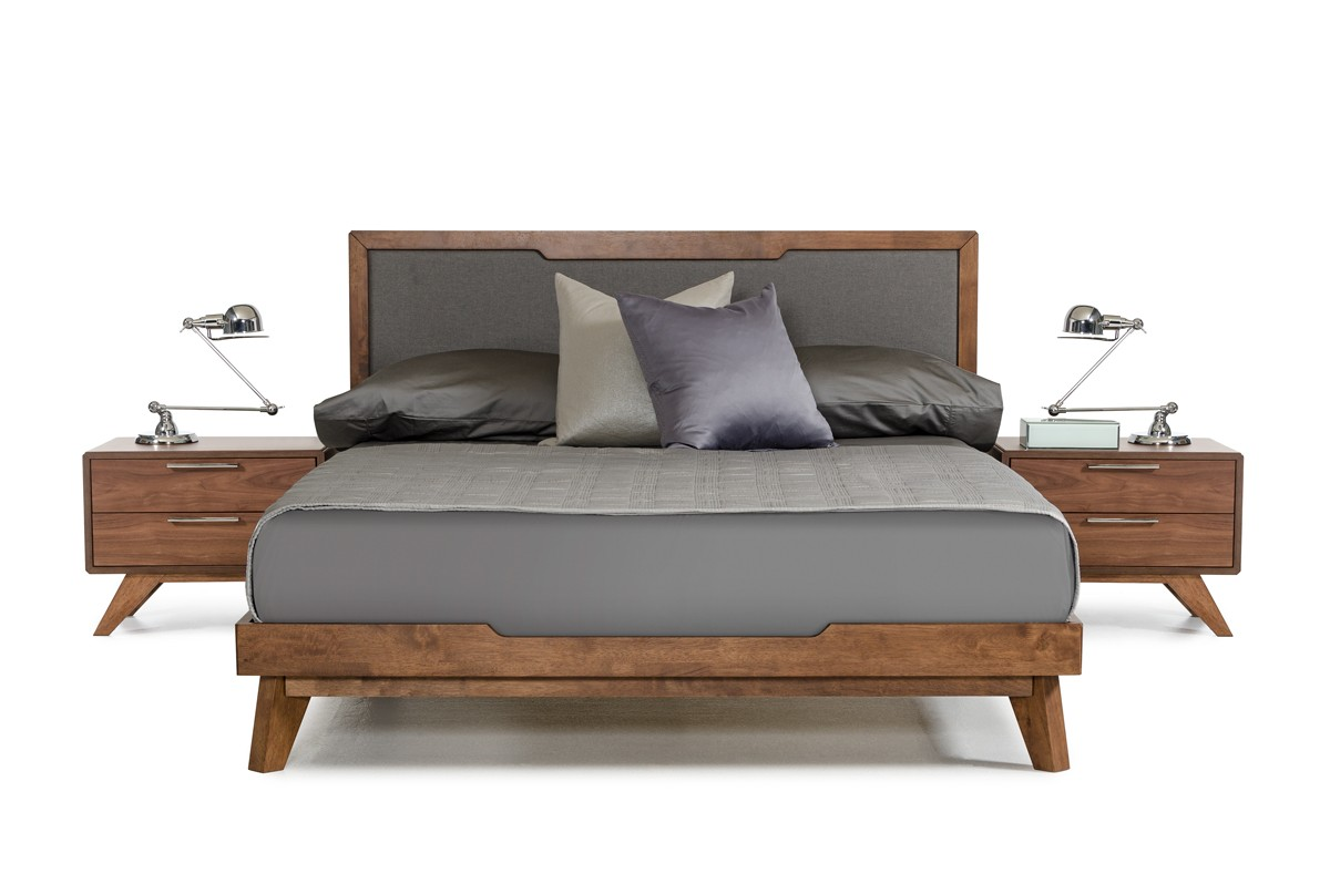 Domus Soria Modern Grey & Walnut Bed