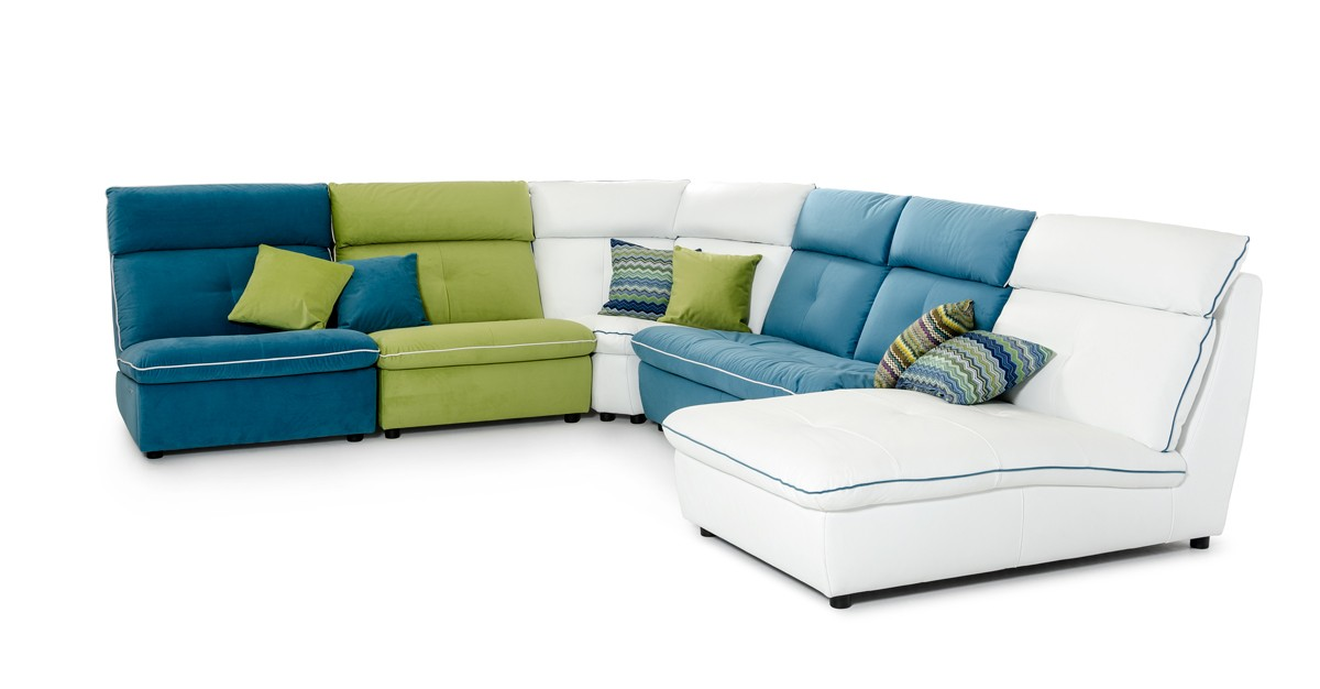 David Ferrari Spritz Italian Modern Leather & Fabric Sectional Sofa ...