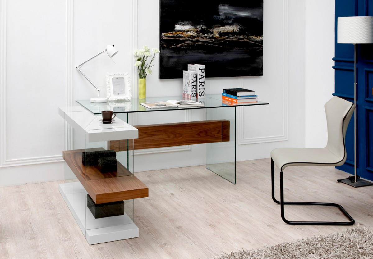 Modern Office Desk: Modrest Sven Contemporary White & Walnut Desk & Shelves