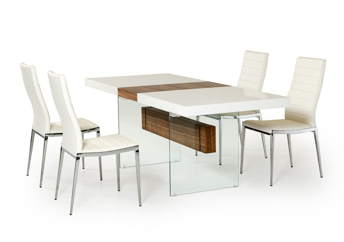 Modrest Sven Contemporary White U0026 Walnut Floating Extendable Dining Table