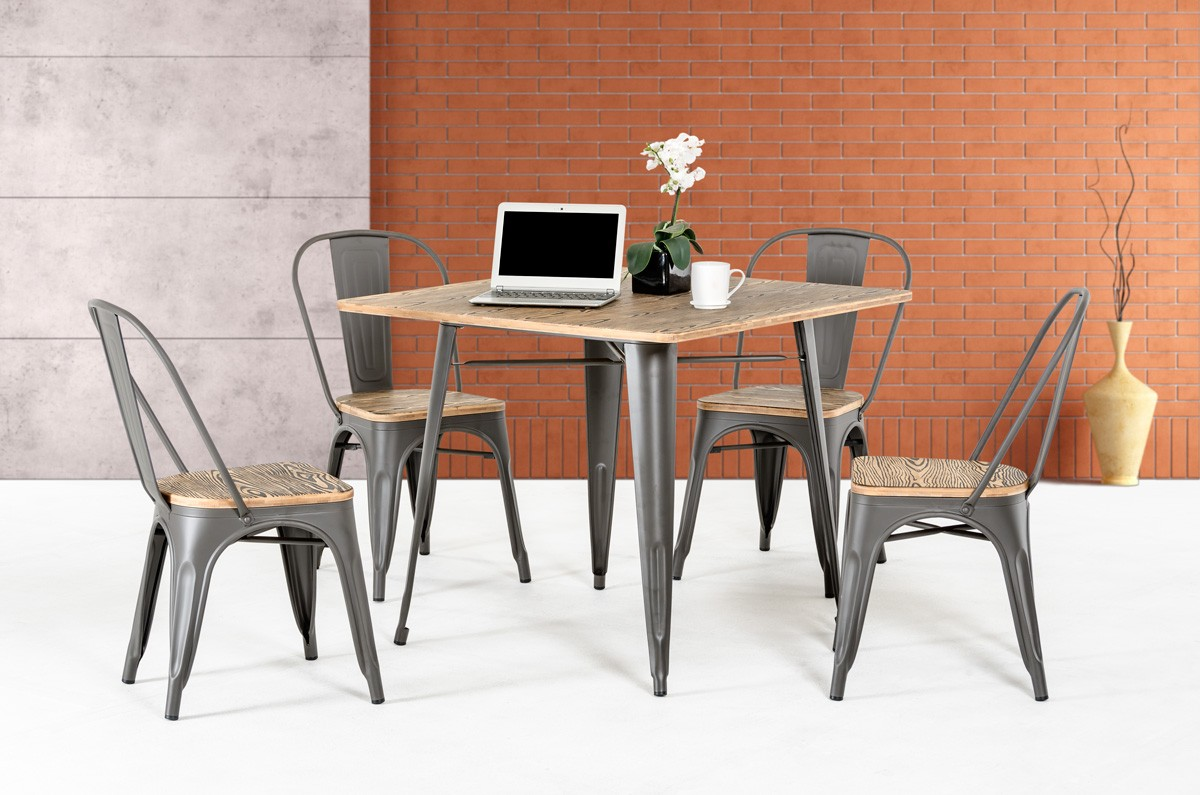 Wooden square dining table - Modrest T 14005 Modern Grey Metal And Wood Square Dining Table