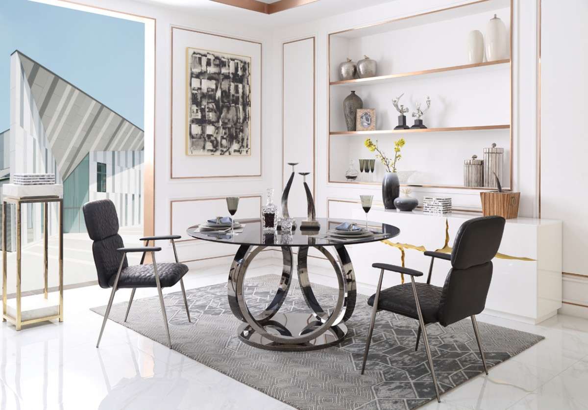 Modrest Kilson Modern Smoked Glass & Stainless Steel Round Dining Table