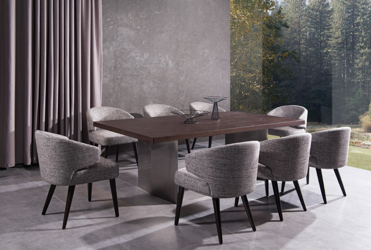 Modrest lexington modern brown oak dining table for Modern oak dining table
