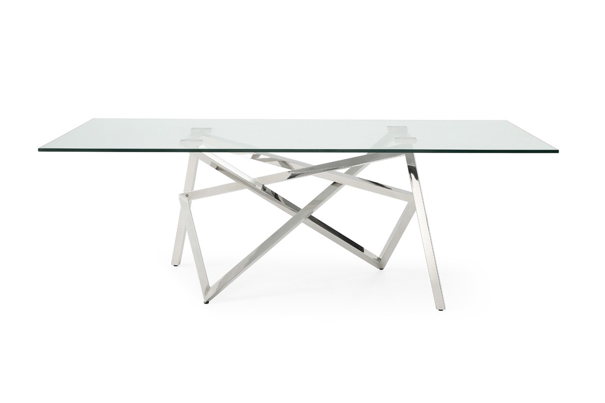 Modrest Hawkins Modern Glass & Stainless Steel Dining Table