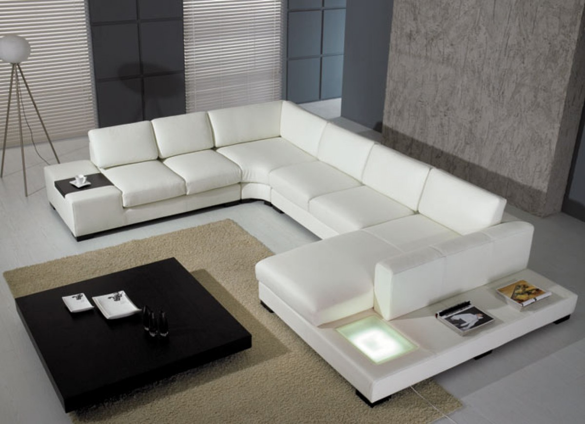 Divani Casa T35   Modern Leather Sectional Sofa With Light ...