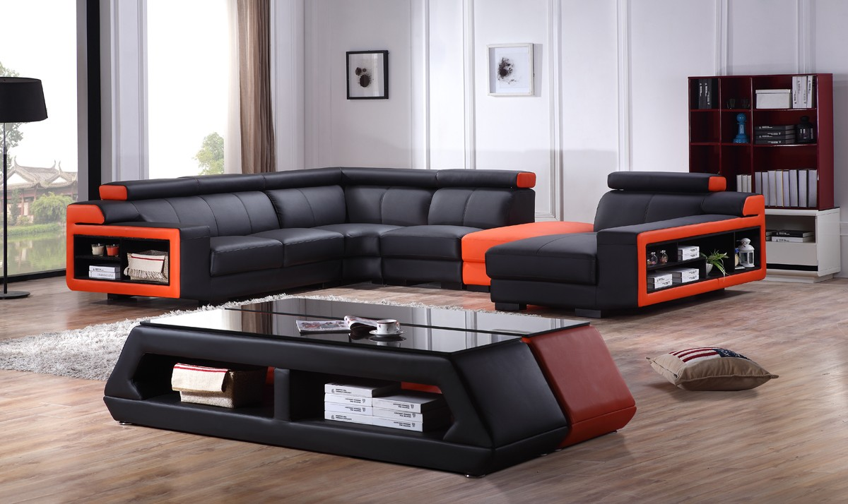 Black And Orange Corner Sofa Bulgarmark