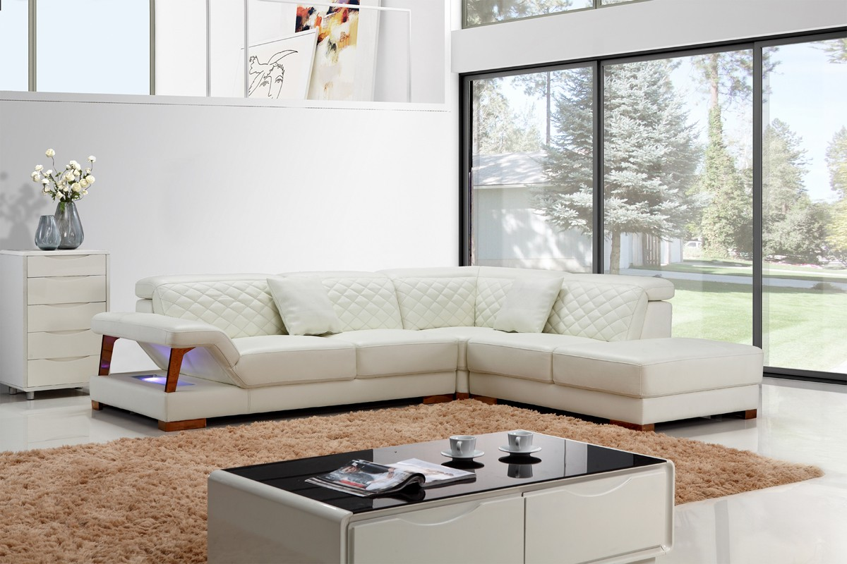 B And B Divani.Divani Casa T738 Modern White Leather Sectional Sofa Special Order