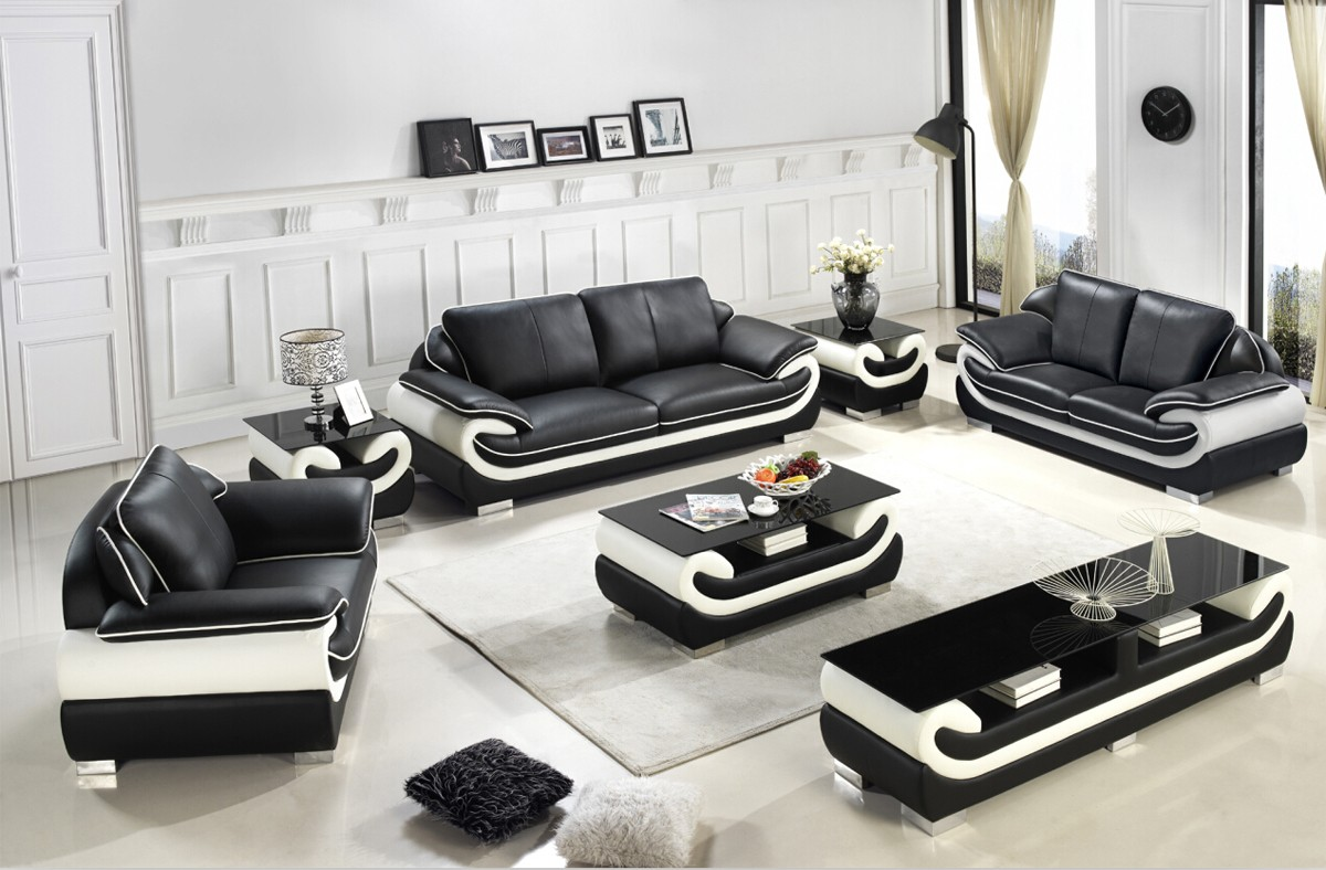 Divani casa t777 modern black white bonded leather sofa set for Furniture 777