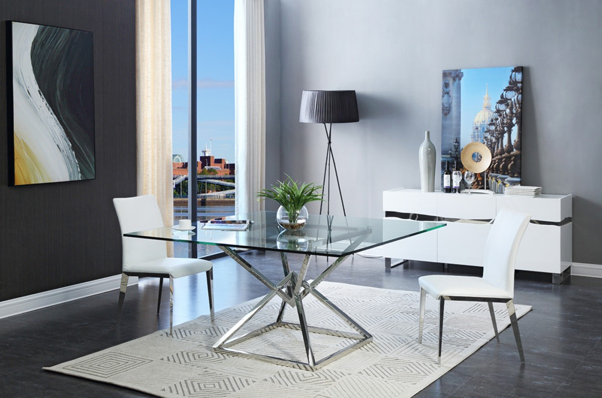 Modrest Xander Modern Square Glass Dining Table Dining Tables Dining