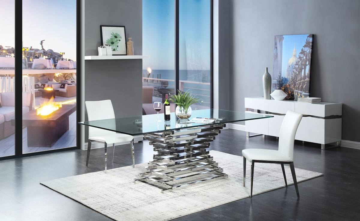 modern glass dining table Modrest Crawford Modern Rectangular Glass Dining Table modern glass dining table