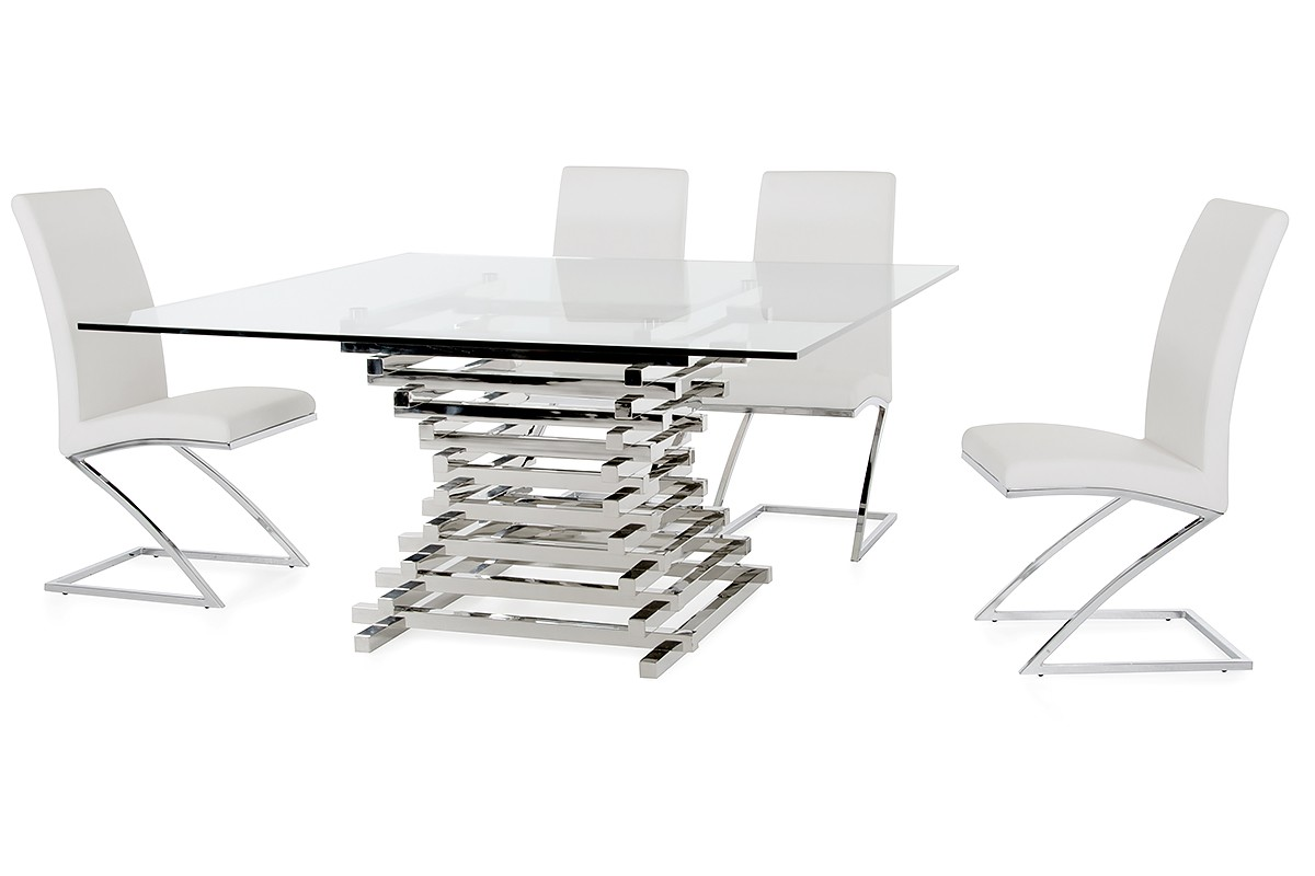 Crawford Contemporary Clear Glass Square Dining Table