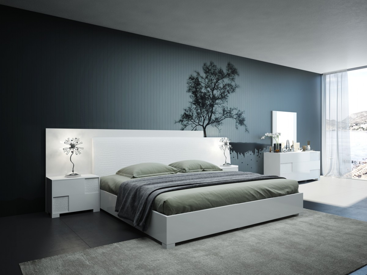 Modrest monza italian modern white bedroom set modern for Italian bedroom furniture
