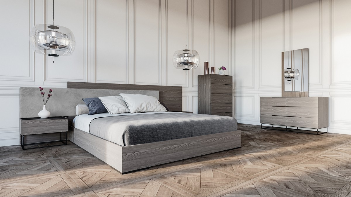 Nova Domus Enzo Italian Modern Grey Oak Amp Fabric Bedroom Set
