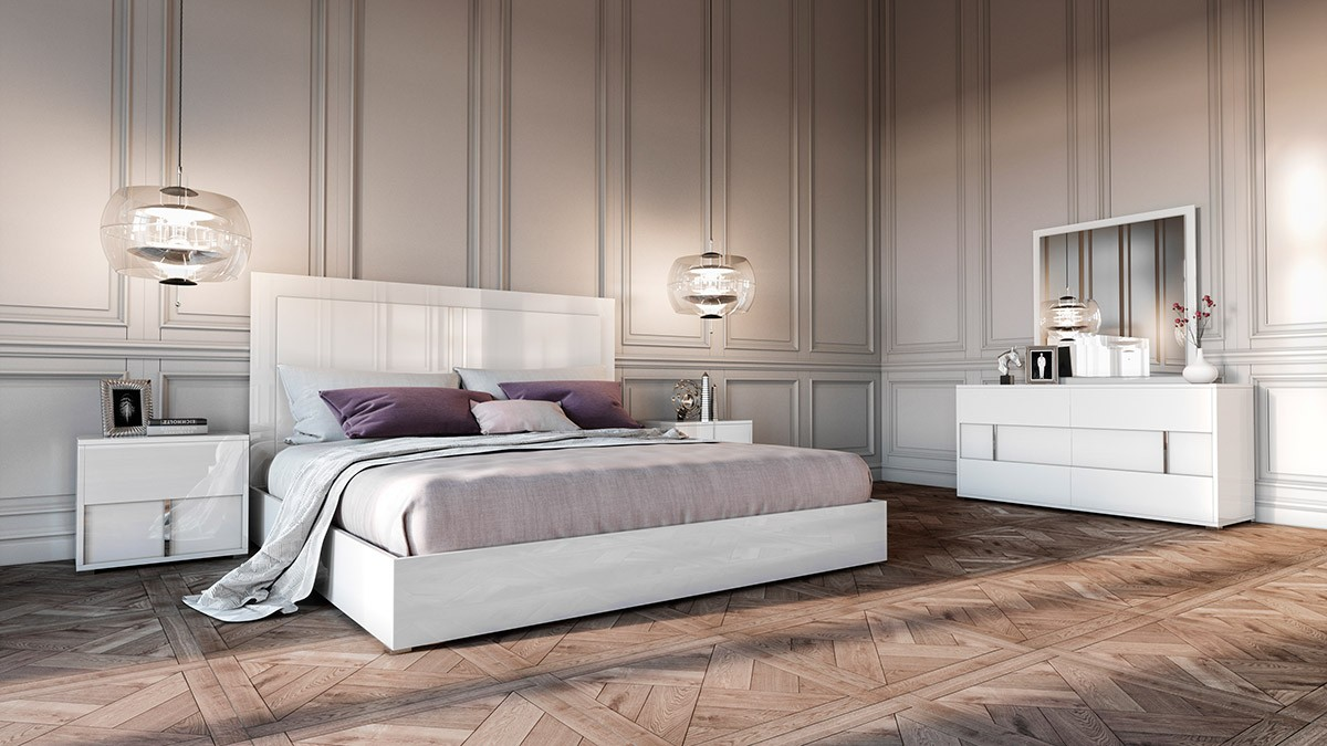 Modrest Nicla Italian Modern White Bedroom Set Beds