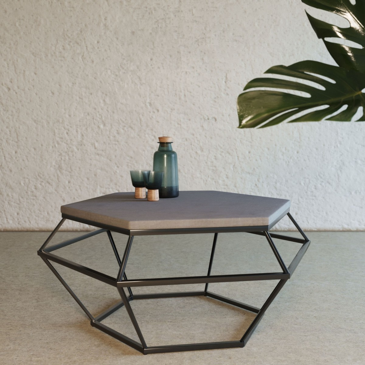 Picture of: Modrest Tartan Modern Concrete Black Metal Coffee Table Coffee Tables Living Room