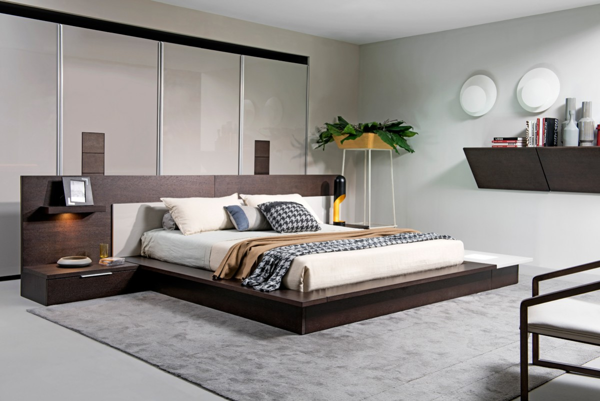 Modrest torino contemporary brown oak grey platform bed w lights modern bedroom bedroom for Contemporary bedroom furniture