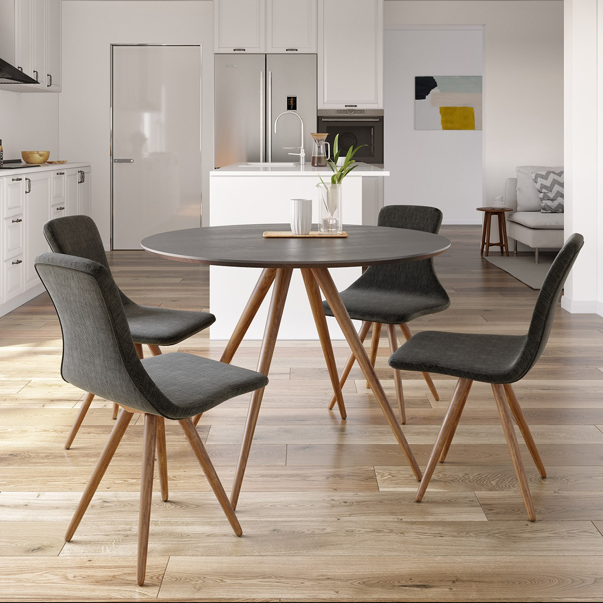 Modrest Tracer Contemporary Black And Walnut Round Dining Table