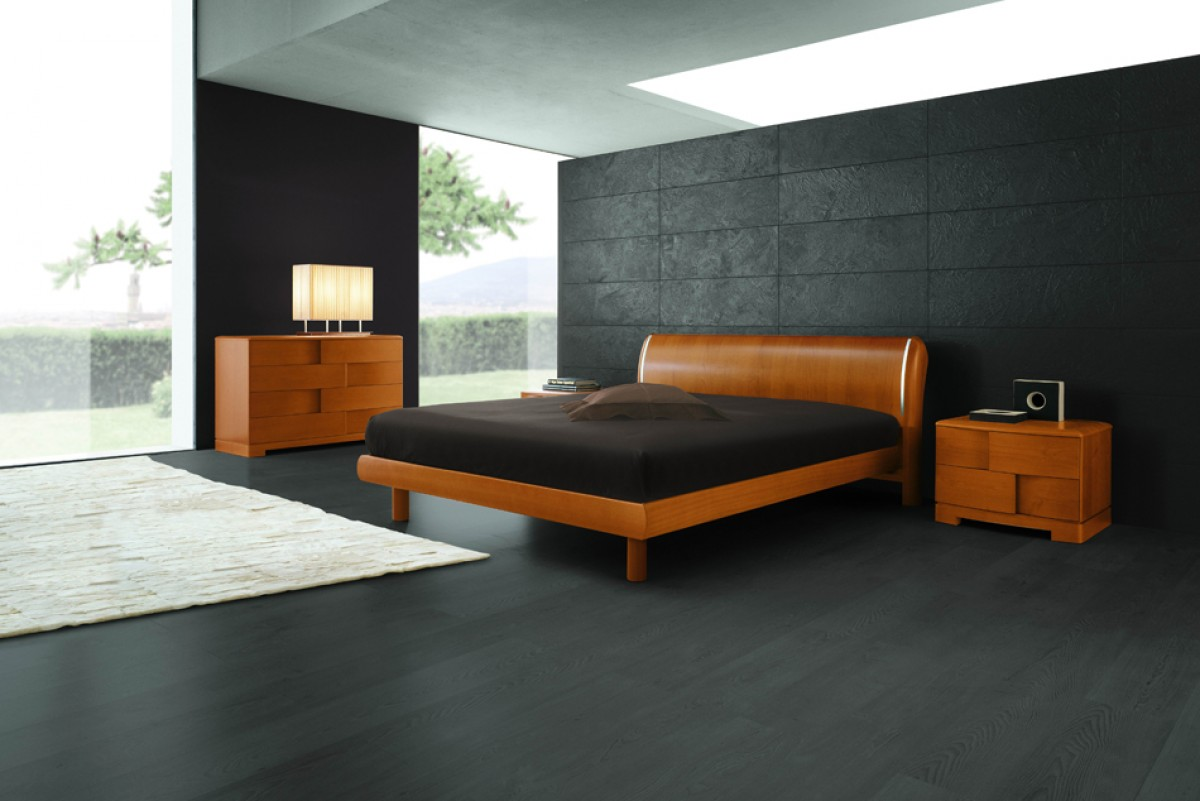Contemporary bedroom furniture in southern ca - Sma Trendy California King Cherry Modern Italian Bed